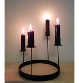 Stoer Metaal black metal candlestick Rond