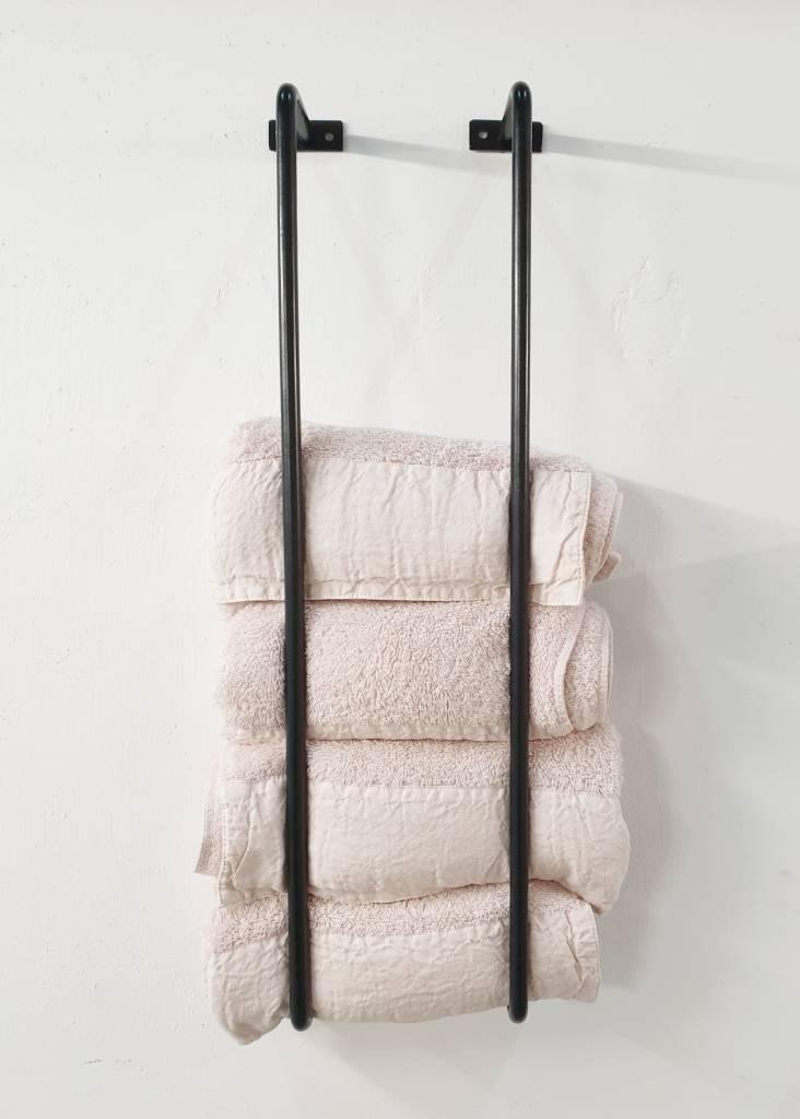 Stoer Metaal metalen handdoekrek stangen voor aan de wand, zwart