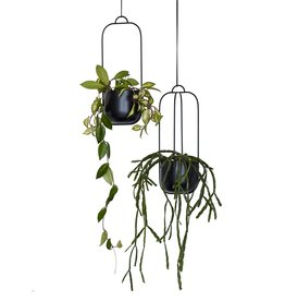 Hübsch set of hanging pots, black