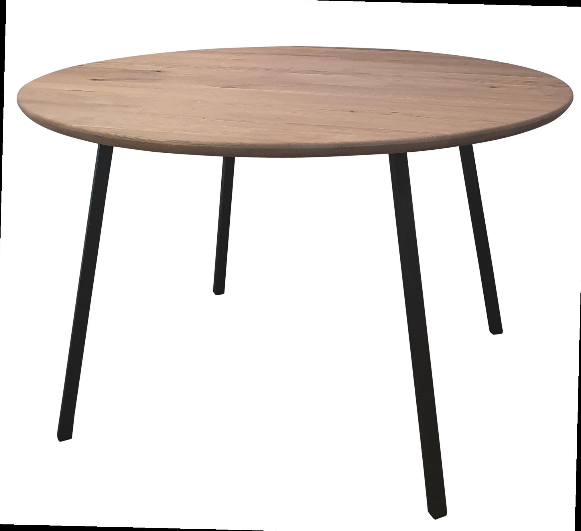 Stoer Metaal round table, metal with oak leaf