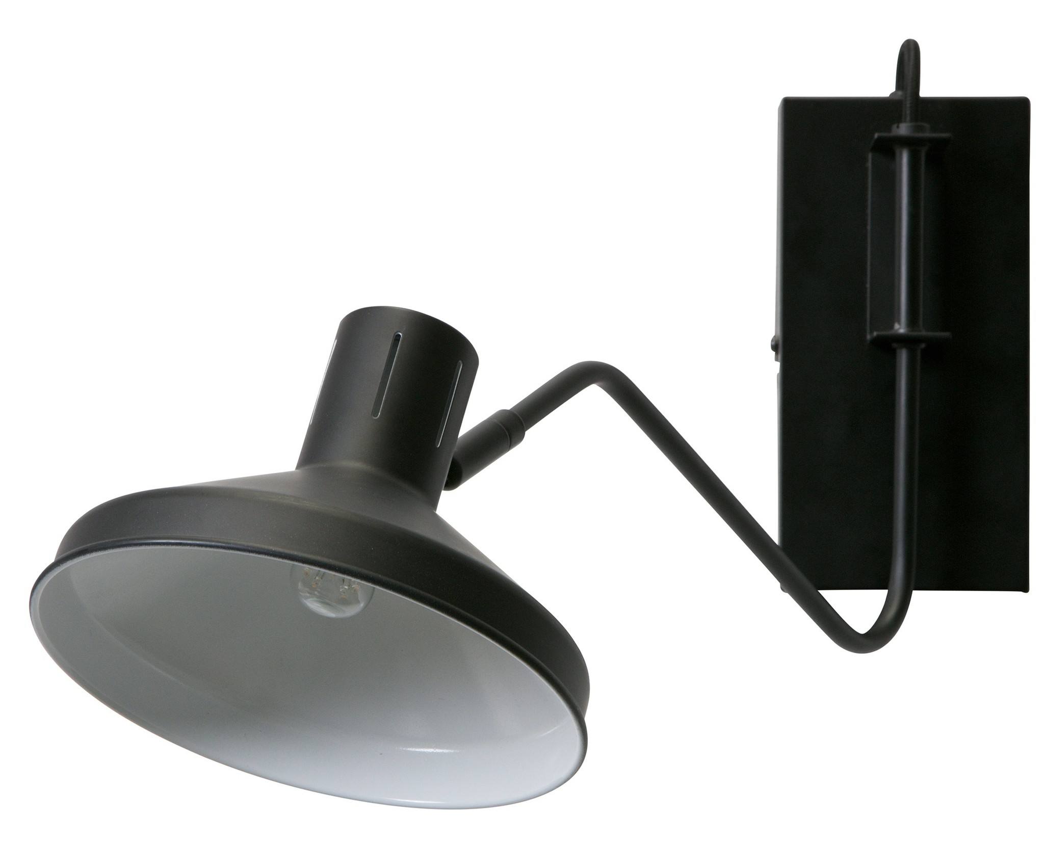Woood Niek wall lamp, black metal