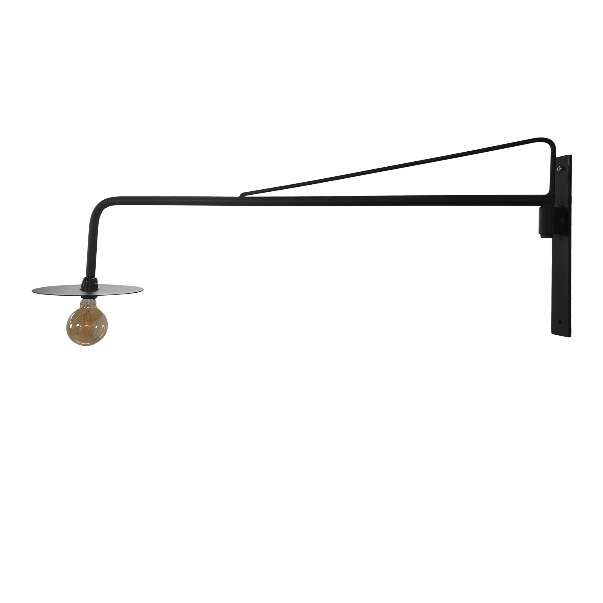 Stoer Metaal wall lamp, swivel lamp Arm, black