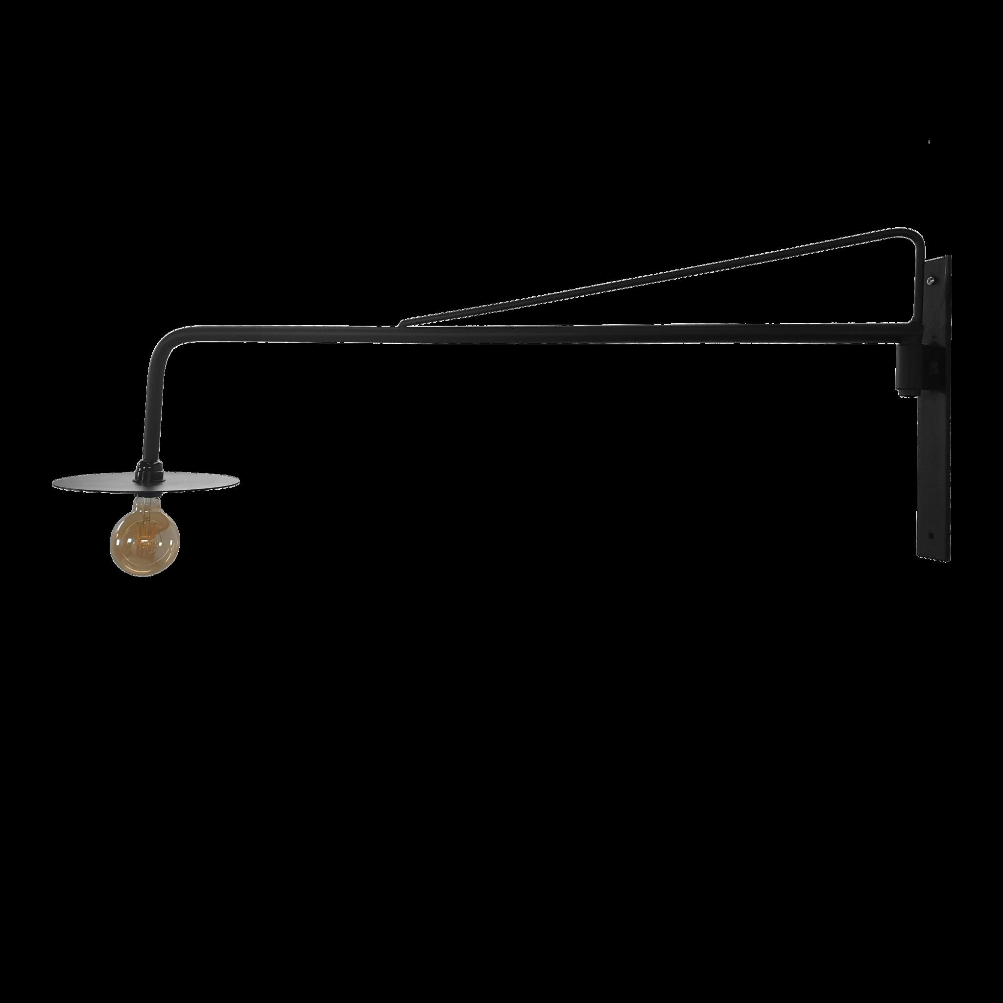 Stoer Metaal wandlamp, zwenklamp Arm, zwart