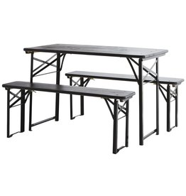 Madam Stoltz table with 2 benches, black