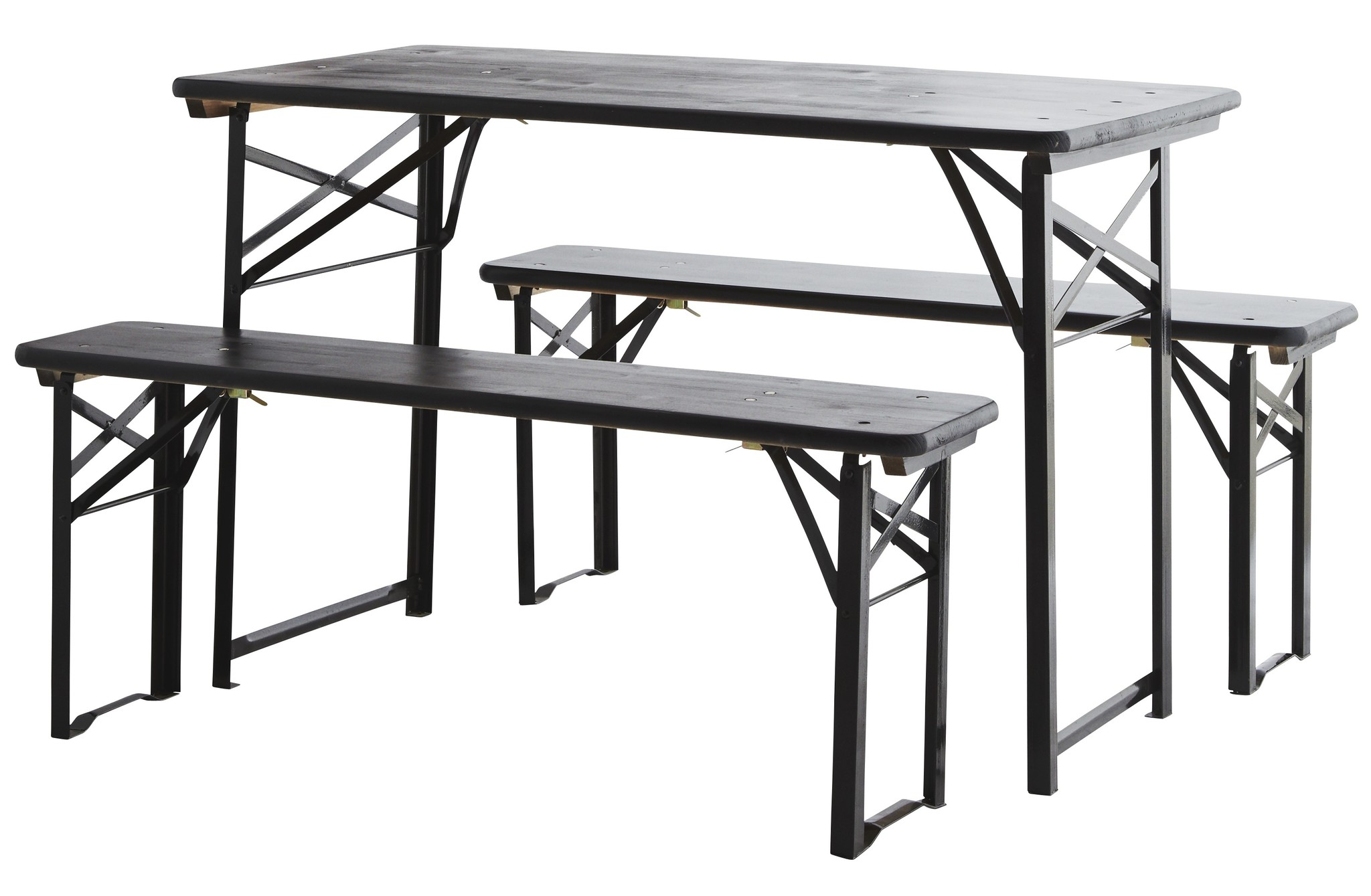 Madam Stoltz folding table with benches, black