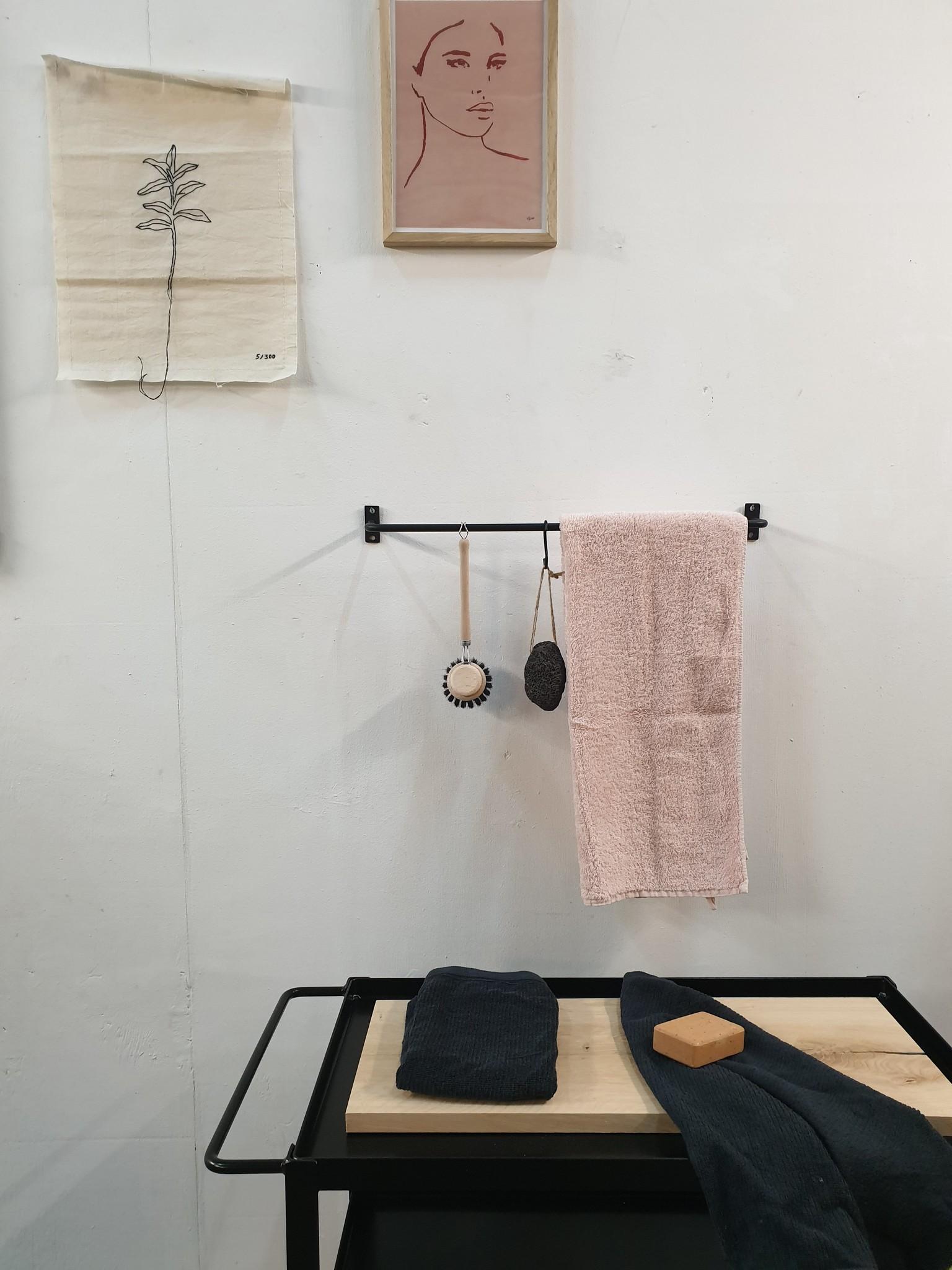 Stoer Metaal metalen keukenstang, handdoekstang, zwart