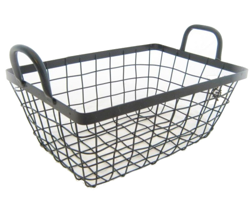 iron wire basket black with handles