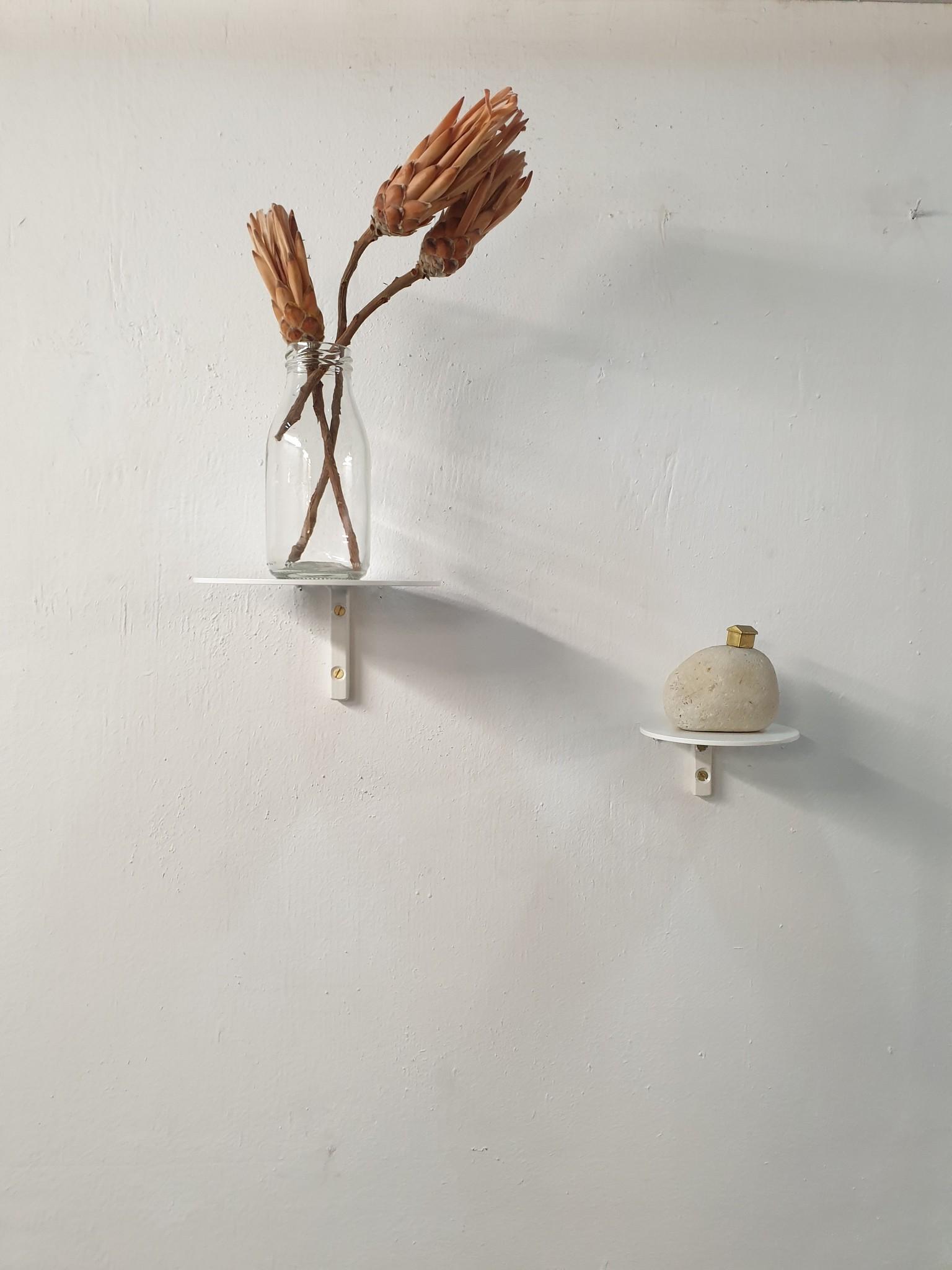 Stoer Metaal wall shelf Rond,  white