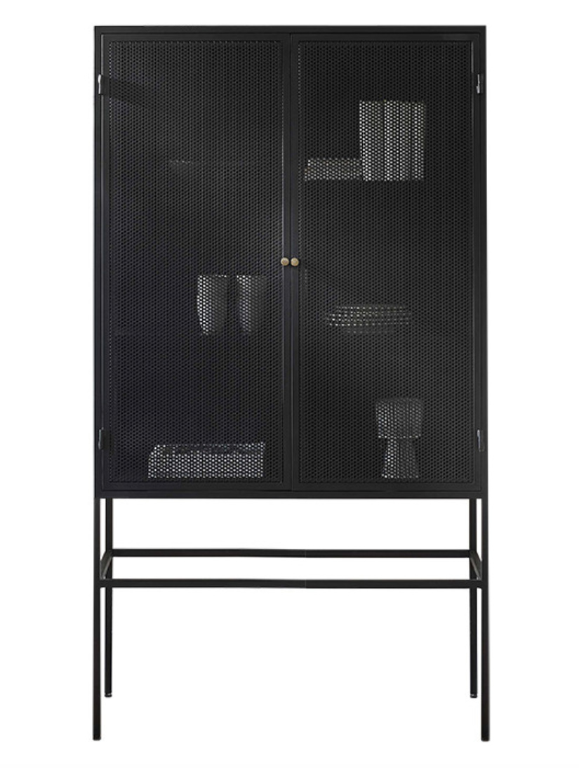 Bodilson metal cabinet Riva on legs, black