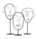 Bodilson decoratie, metalen gezichten op standaard,Visage