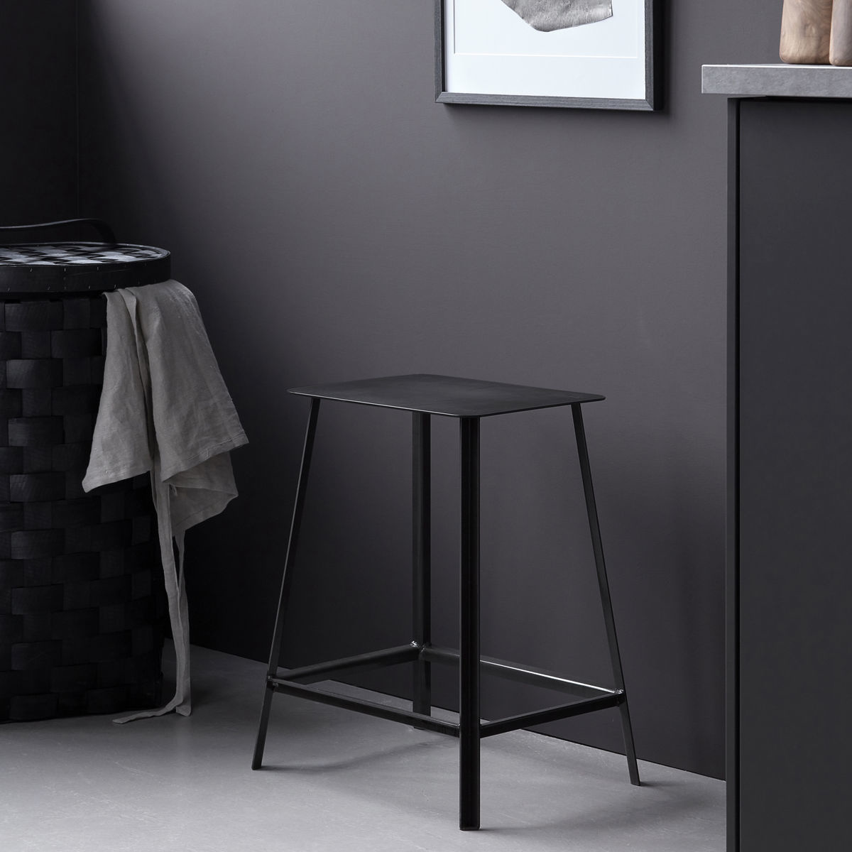 House Doctor gun metal stool Rag