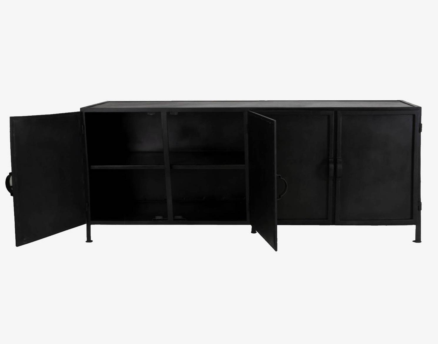 New Routz lage ijzeren kast, dressoir Detroit, zwart