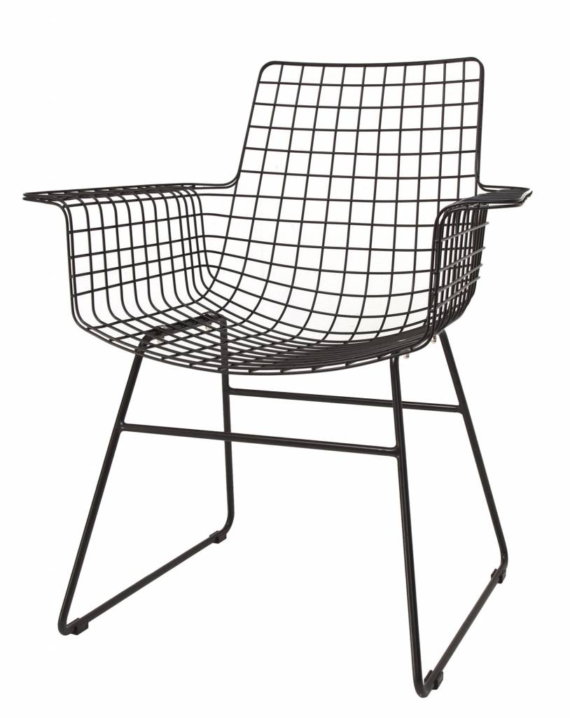 HK Living wire chair Wiremet armrest, black