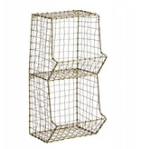 Madam Stoltz small wall rack, two compartments, old gold