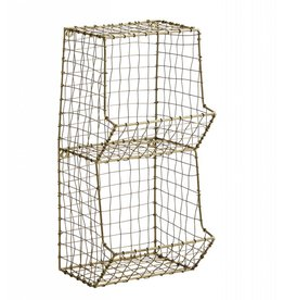 Madam Stoltz wall rack, 2 compartments, old gold