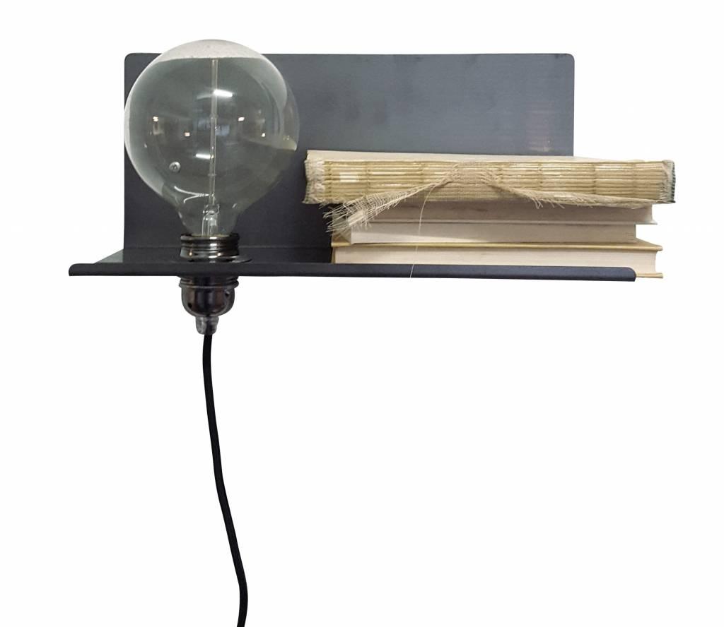 Wandplank Met Lamp.Stoer Metaal Wall Lamp Peer