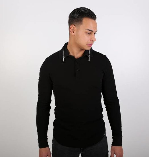 Icelus Clothing Zip Polo Longsleeve Black