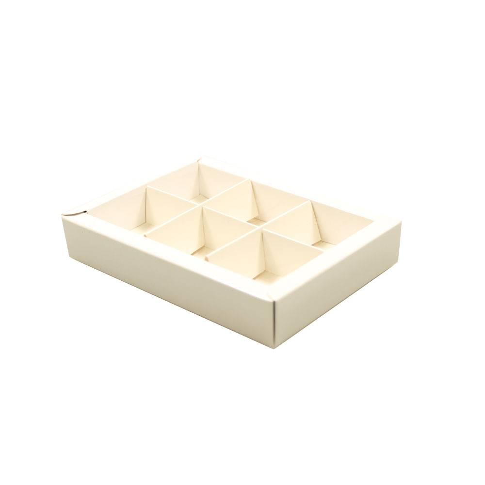 White window box with interior for 6 chocolates - 130*90*30mm - 50 pieces