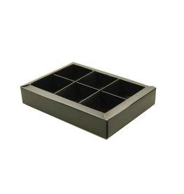 6 vaks doosje  mat zwart