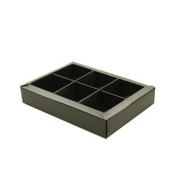 Black window box with interior for 6 chocolates