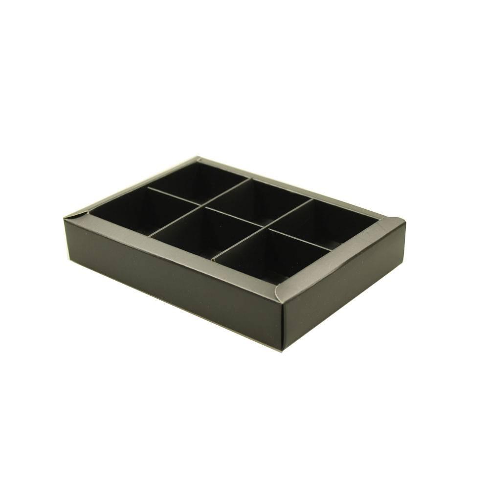 6 vaks doosje mat zwart - 130*90*30mm - 30 stuks