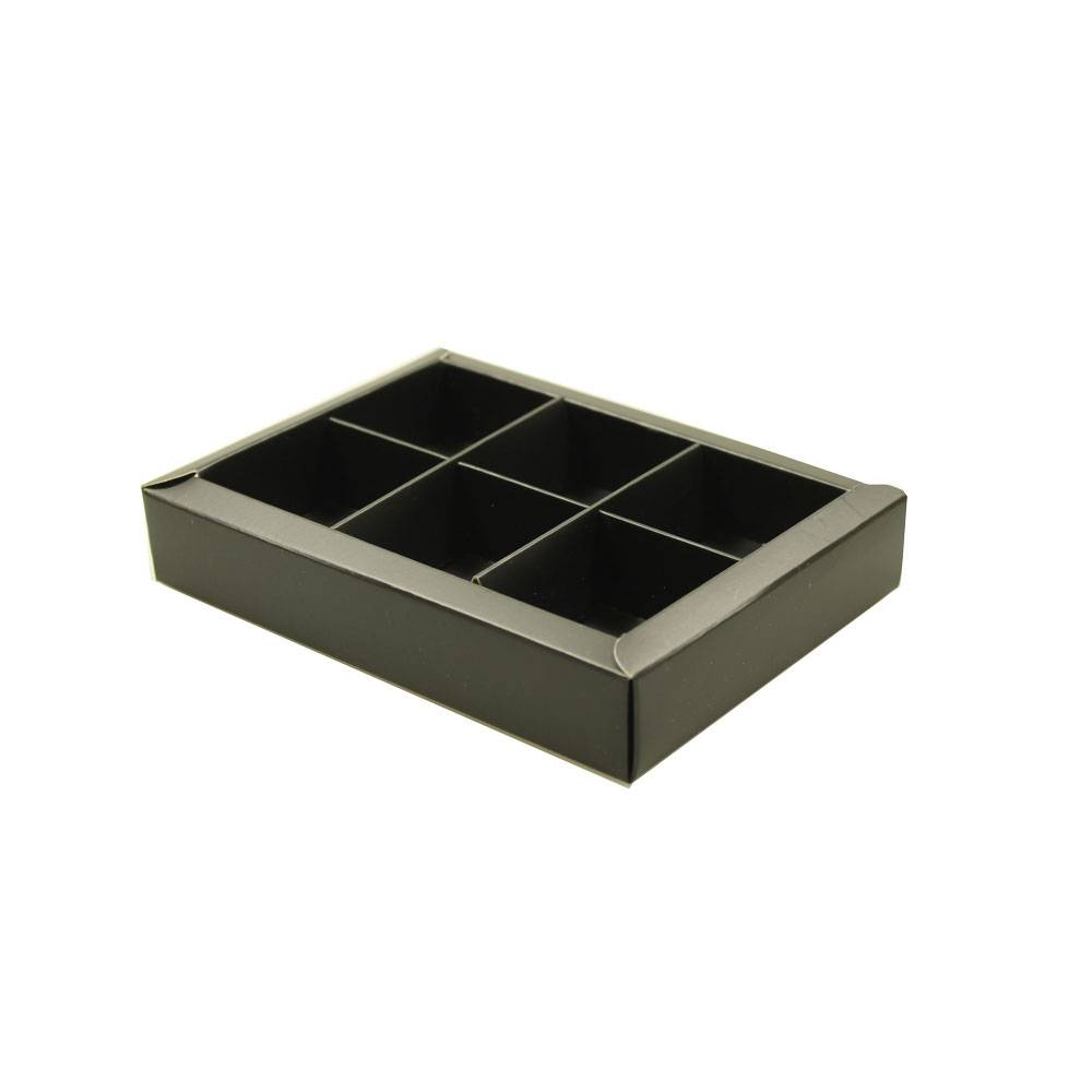 Black window box with interior for 6 chocolates - 130*90*30mm - 35 pieces