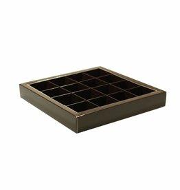 Boîte brune carré avec interiéur pour 16 pralines