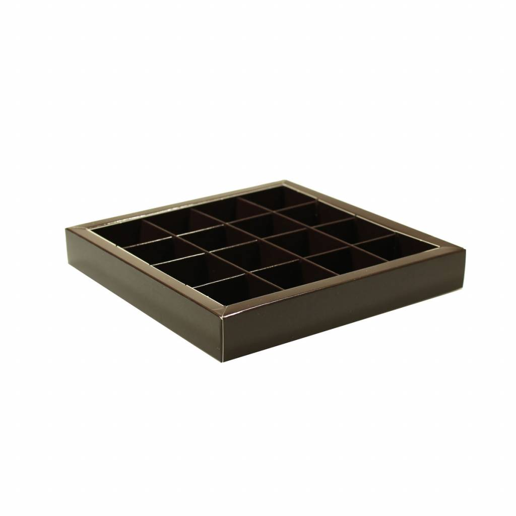 Dark brown square window box with interior for 16 chocolates - 155*155*25mm - 35 pieces