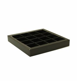 Black square window box with interior for 16 chocolates