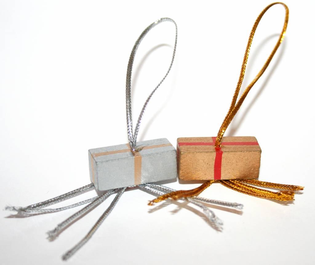 Pendentif cadeau - or et argent - 25*10mm - 50 pièces