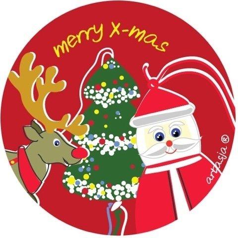 Sticker Merry Christmas - 45mm - 50 stuks