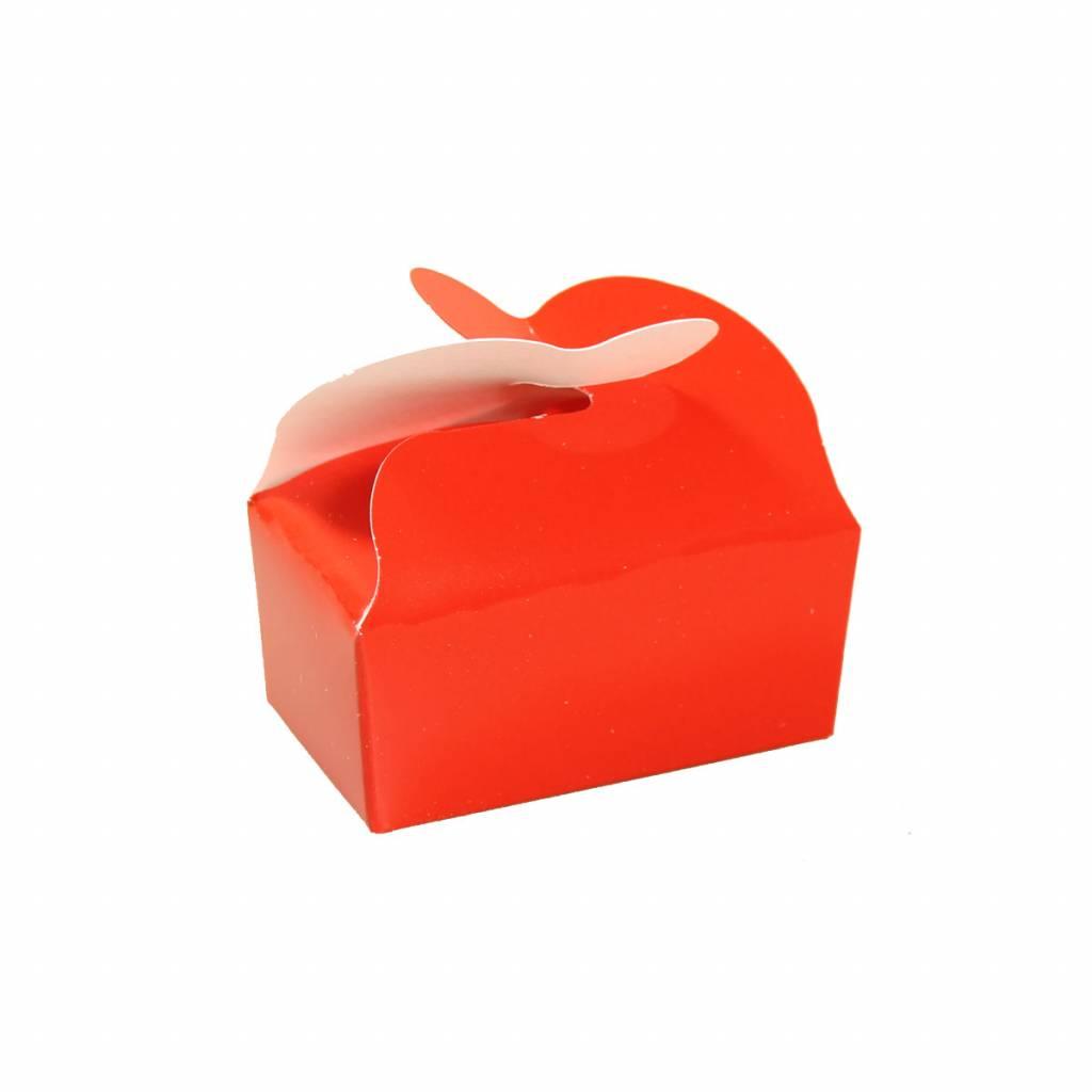Ballotin voor 2 bonbons - rood - 65 * 40 * 30 mm - 100 stuks