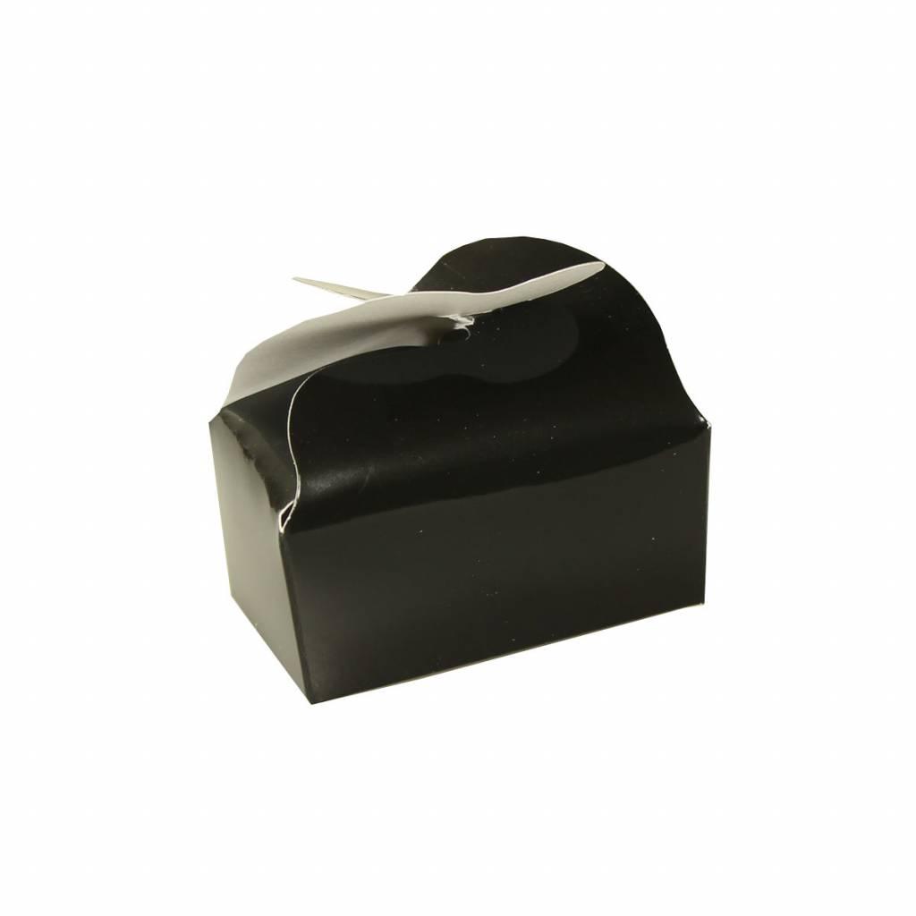 Ballotin voor 2 bonbons - zwart - 65 * 40 * 30 mm - 100 stuks