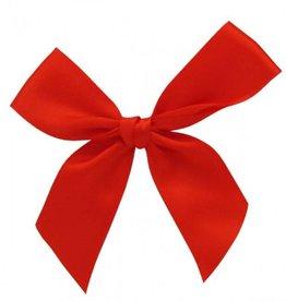 Satijn strikje met plakkertje Red 7,5*7,5cm - 100  stuks