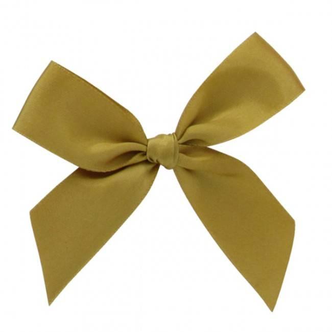 Satijn strikje met plakkertje Gold -  6*6cm - 200 stuks