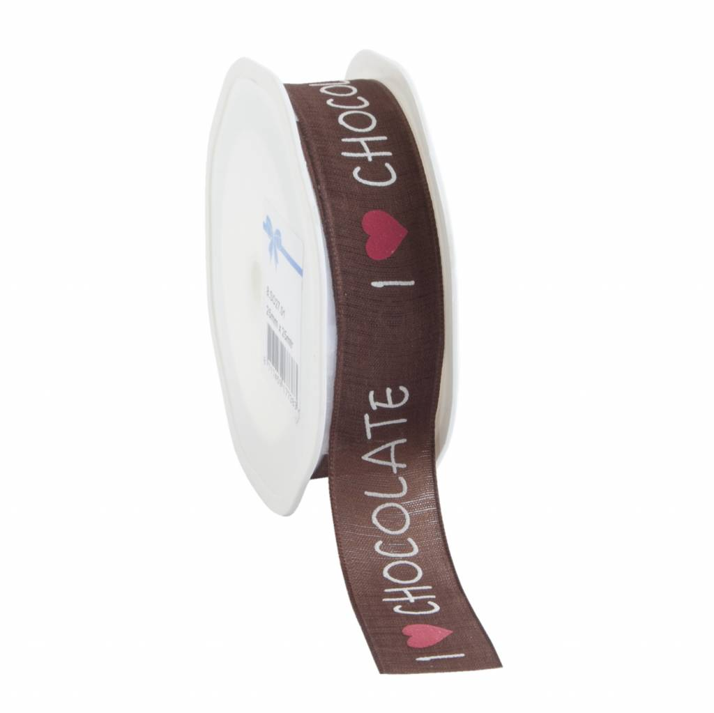 I Love Chocolate Ribbon - Brown - 22 mm - 15 m