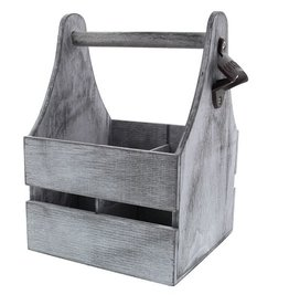 Wooden container for 4 bottles grey