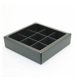 Black square window box with interior for 9 chocolates