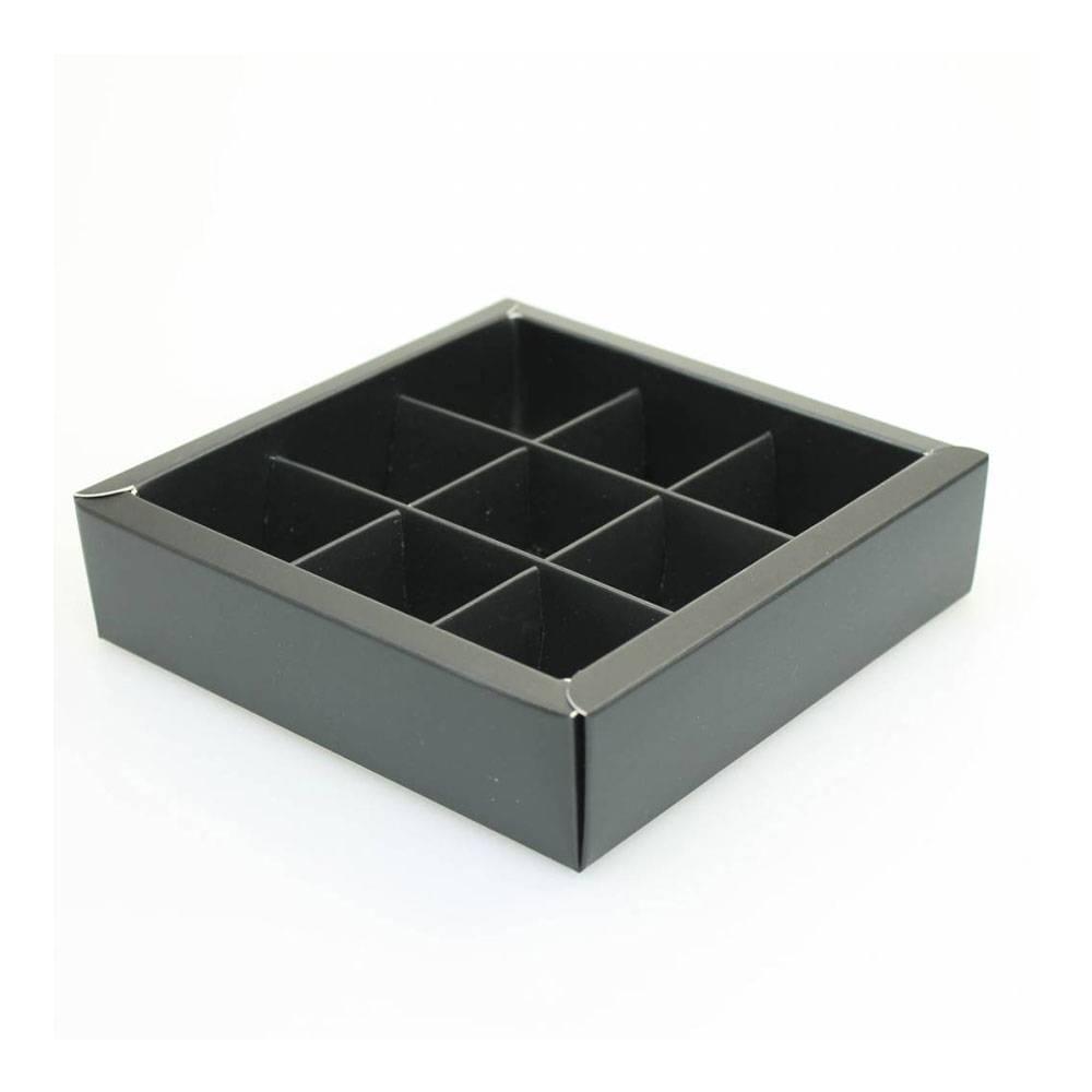 9 vaks doosje mat zwart hoog   - 115*115*33 mm - 50 stuks