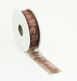 Glitter Leaves ribbon - Brown