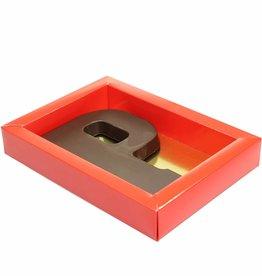 Cajas rojo con tapa transparente