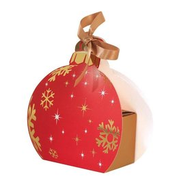 Kerstbal met gouden doosje en lint