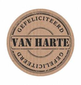 """Sticker Kraft """"Van Harte Gefeliciteerd"""""""