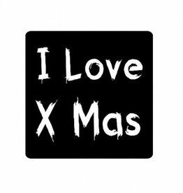 """Etikett  Kerst Tafel """"I love Xmas"""""""