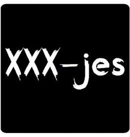 """Etiket Krijtbord """"Xxx-jes"""""""