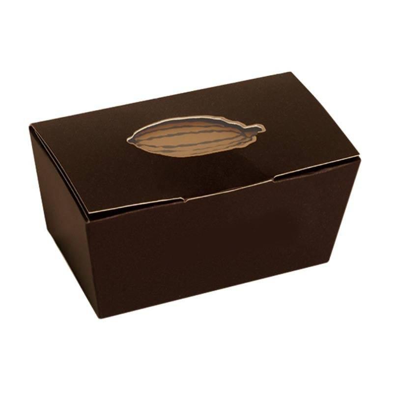 Ballotin bruin met cacaoboon (klepsluiting)