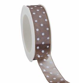 Organza satin woven edge ruban Dots - chocolat brun