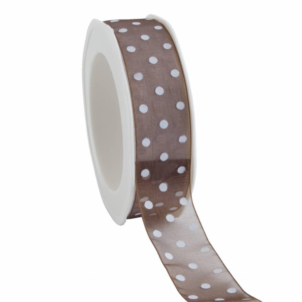 Organza satin woven edge ribbon Dots - chocolate brown