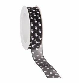 Organza satin woven edge cinta Dots - negro