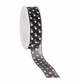 Organza satin woven edge ribbon Dots - black